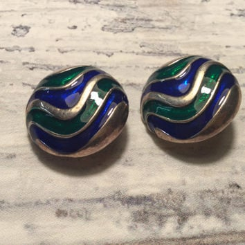 Vintage Clip Earrings . Silver Toned with Blue and Green .