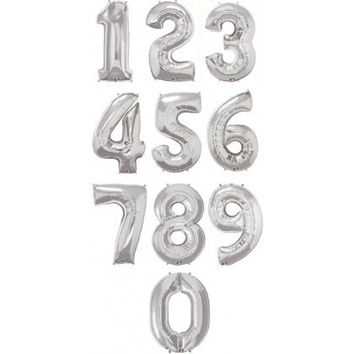Giant Number Balloons (Silver)