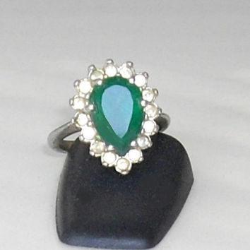 Vintage Faux Emerald Teardrop Ring, faux diamonds, rhinestones, silver tone, green jewel, marquise dinner ring