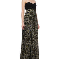 Women's Adriana Strapless Silk Leopard-Print Maxi Dress - Diane von Furstenberg - Black/Gold (8)