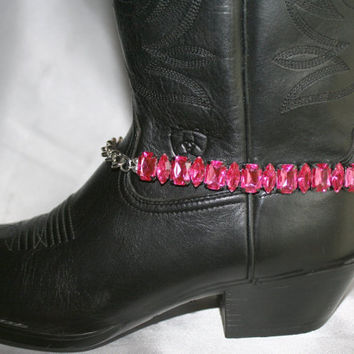 Pink Rhinestone Cowgirl Boot Bling, Crystal Western Choker Necklace, Antique Silver Chain Western Statement Bracelet, Cowgirl Bridal Choker