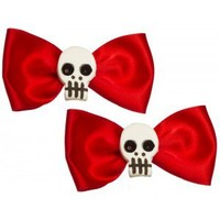 KUSTOM VOODOO RED SATIN HAIR BOWS