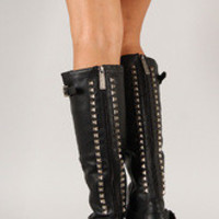 Women's Breckelle Studded Buckle Riding Knee High Boot