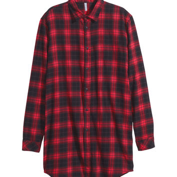 H&M - Long Flannel Shirt - Red/checked - Men
