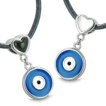 Amulets Evil Eye Charms Reversible Double Lucky Love Couple Best Friends Set Onyx Cat Eye Necklaces