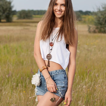 Mystery Vintage Outfit: Summer Top &  High Waisted Distressed Shorts!- All Sizes