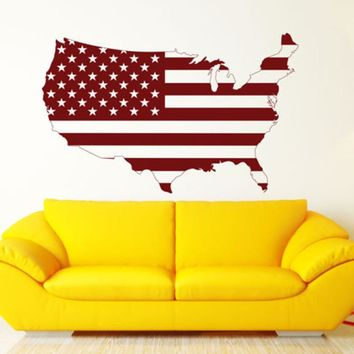 Removable Art United States USA Flag Map Wall Decal Art Decor Sticker Vinyl Poster Home Decoration Vinyl Mural Sticker A-160
