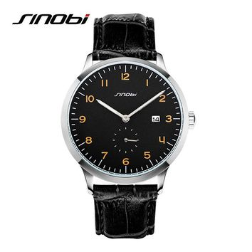 SINOBI Classic Men Wrist Watches Leather Watchband Top Luxury Brand Fashion Males Geneva Quartz Clock Relogios Homens Hours 2016