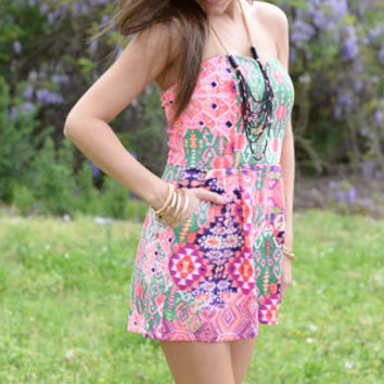 Spin Off Aztec Romper, Pink