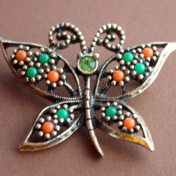 Vintage Sarah Coventry Gold Butterfly Brooch Pin with Green and Orange Beads