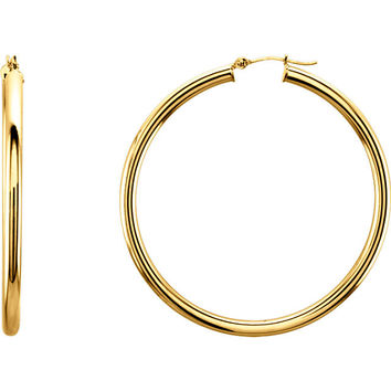 14 Karat Yellow Gold Classic Gold 47mm Round Hoop Earrings