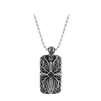 Inox Jewelry Men's Stainless Steel Gothic Cross Black CZ Dog Tag Necklace