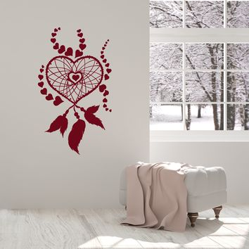 Vinyl Wall Decal Dreamcatcher Hearts Romantic Girl Room Decor Art Stickers Mural (ig5653)