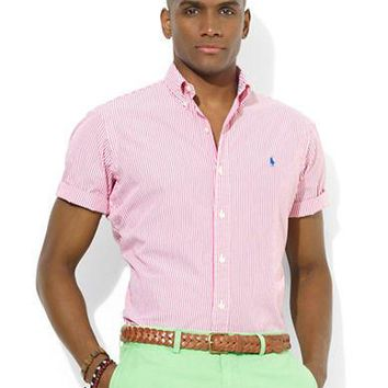 Polo Ralph Lauren Custom-Fit Short-Sleeved Striped Poplin Sport Shirt