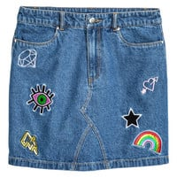 Embroidered Denim Skirt - from H&M