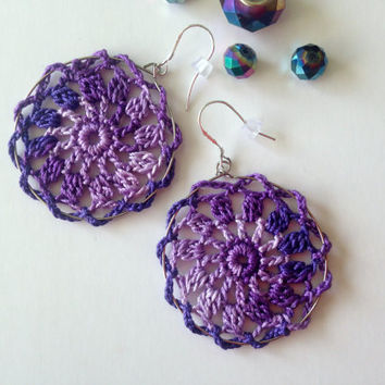Lilac Earrings, Crochet Hoops, Lavender Hoops, Lace Earrings, Doily Earrings, Ombre Jewelry, Boho Earrings, Hippie Accessories, Purple Hoops