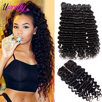 Brazilian Deep Wave Human Hair w Closure
