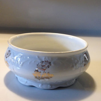 Antique Homer Laughlin Whiteware Sugar Bowl Stoneware Gold Floral Mums 1877-1902 Victorian China Tea Service