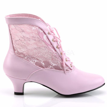 """Dame 05 Lace Panel Victorian Style Ankle Boot2"""" Heel 6-12 Pink"""