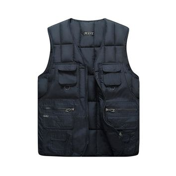 New Mens Thick Padded Puffy Puffer Warm Vest Light Down Cotton Sleeveless jacket For Men Casual Waistcoat With Many Pockets Male