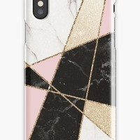 'Rose Gold Black And White Cool Girly Marble Pattern' iPhone Case by Quaintrelle