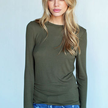 LONG SLEEVE TEE LIGHTWEIGHT RIB TEE MATCHA GREEN