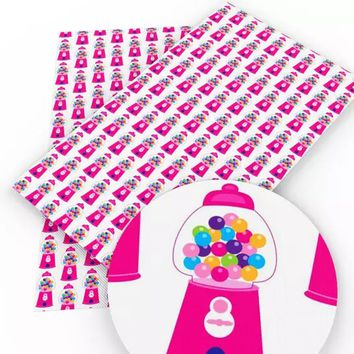 Gumball machine candy faux leather fabric sheet