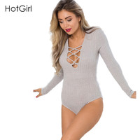 Rompers Womens Jumpsuit 2015 Ribbed Tie Up Sexy Bodysuit Long Sleeve Cotton High Waist Short Bandage Bodycon Nightclub Overalls