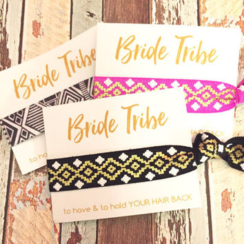 Bachelorette Party Favors Hair Ties // Bride Tribe [AztecHeloBtfl] - Gift Her Bridesmaids // MOH - Survival Kit // To Have and To Hold