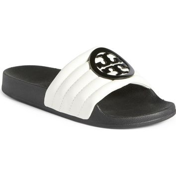Tory Burch Lina Quilted Logo Slide Sandal (Women) | Nordstrom