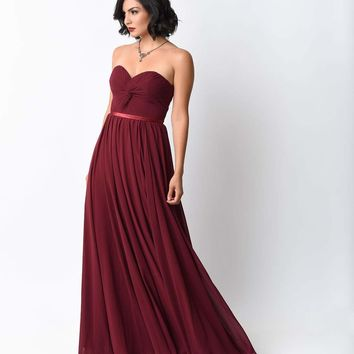 Burgundy Chiffon Strapless Sweetheart Corset Long Gown