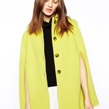 Helene Berman Cape with Collar - Chartreuse