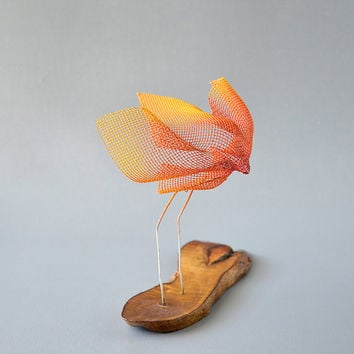 Small bird sculptures, Abstract bird, Metal sculpture, Contemporary metal art, Decorative modern art, Orange bird