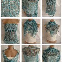 Hand crocheted turquoise white magic shawl