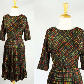Vintage 50s/60s Stained Glass Novelty Print Day Dress with Matching Belt