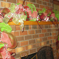 Christmas Garland In Red & Green Deco Mesh Christmas Mantle And Door Garland Deco Mesh Christmas Garland. Pre-Lit Christmas Garland