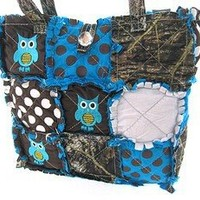 Cute! Patchwork Camo Owl Polka Dot Tote Bag Purse Blue Camouflage w/ Jewel Bling Accent