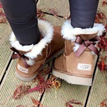 UGG Women male Fashion Wool Snow Boots A bowknot 4-color I