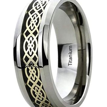 CERTIFIED 8MM Titanium Mens Womens Rings Yellow Tone Celtic Knot Inlayed Wedding
