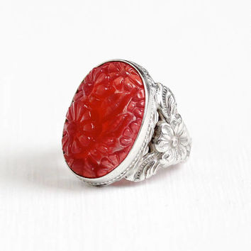 Vintage Sterling Silver Art Deco Molded Flower Red Glass Stone Ring - 1930s Size 4 1/2 Statement Floral Simulated Carnelian Uncas Jewelry