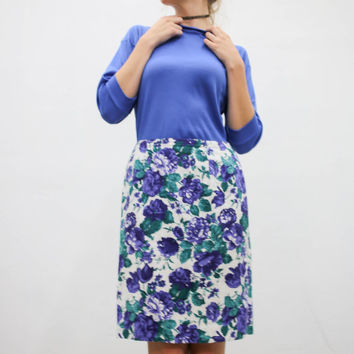 vtg 90s purple blue floral skirt, white flowers midi, kawaii goth fashion, 1990s vintage urban outfitters tumblr fashion vaporwave aesthetic