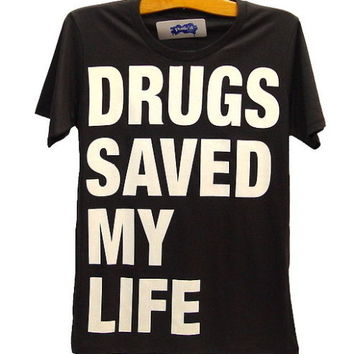 DRUGS SAVED MY LIFE Punk Rock T-Shirt UK Union Jack S/M