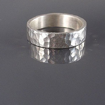 hammered ring silver ring band heavily structured 5mm wide mens ring wedding ring partner ring