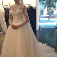 Real Photo Wedding Dresses Long Sleeve Ball Gown Tulle with Lace Applique Floor-Length long robe mariage  Vestidos De Novia