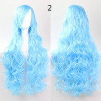 COS Wig Hair Extension woman wigs Hatsune Miku Cosplay Wig long hair wig wigs synthetic hair cap multicolor hair curly wig hair S2312-2