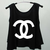 CHANEL COCO CHANEL T Shirts Tank Top Tunic high waist women handmade silk screen printing
