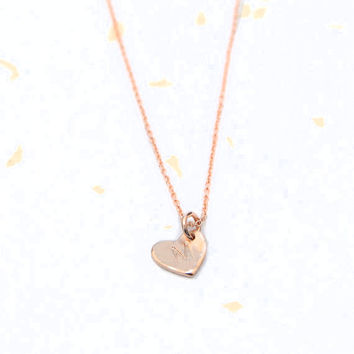Tiny Heart Necklace Personalized with Handstamped Initial in Gold, Rose Gold or Sterling Silver
