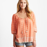Medallion V-Notch Cold-Shoulder Peasant Top - Aeropostale