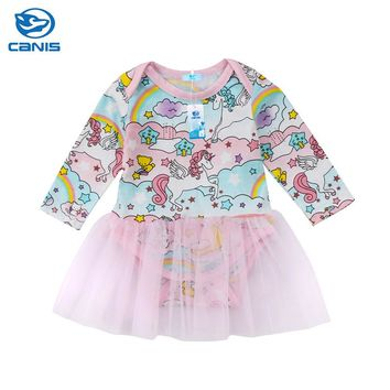 Newborn Infant Clothes Cute Baby Girls Unicorn Cartoon Romper Pink Tutu Dress New Arrival Floral Long Sleeve Toddler Dress 0-18M
