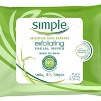Simple Facial Wipes, Exfoliating 25 ct